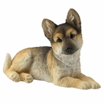 German Shepherd Puppy Sitting and Looking Right Sculpture