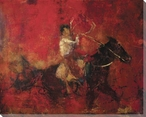 Getting Ready Cowboy on Horse Wrapped Canvas Giclee Print Wall Art