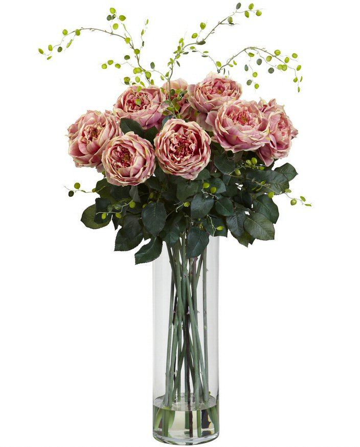 Giant Fancy Pink Roses and Willow Silk Flower Arrangement  Artificial Flowers  Silk Flowers