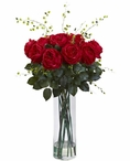 Giant Fancy Red Roses and Willow Silk Flower Arrangement