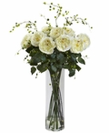 Giant Fancy White Roses and Willow Silk Flower Arrangement