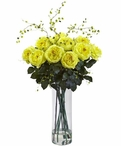 Giant Fancy Yellow Roses and Willow Silk Flower Arrangement
