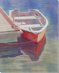 Gibson Skiff Boat at the Dock Wrapped Canvas Giclee Print Wall Art