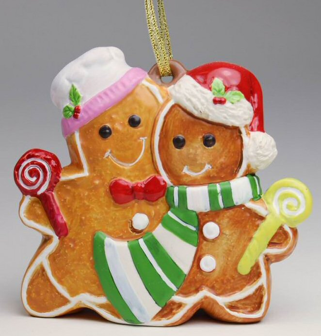 gingerbread man christmas tree ornaments set of 4 - Gingerbread Man Christmas Decorations