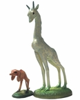 Giraffe and Two Legged Dog Statue Set by Hieronymus Bosch