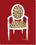Giraffe Chair on Red Wrapped Canvas Giclee Print Wall Art