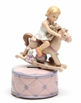 Girl Riding a Rocking Horse Musical Music Box Sculpture