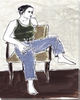 Girl Sitting on a Chair Wrapped Canvas Giclee Print Wall Art