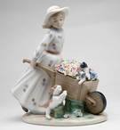 Girl with Flower Wagon with Kittens and Puppy Porcelain Sculpture