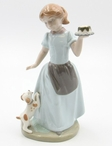 Girl with Her Dog Holding a Cake Porcelain Sculpture by Nadal