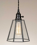Glass and Metal Bell Pendant Lamp Light