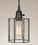 Glass and Metal Drum Pendant Lamp Light
