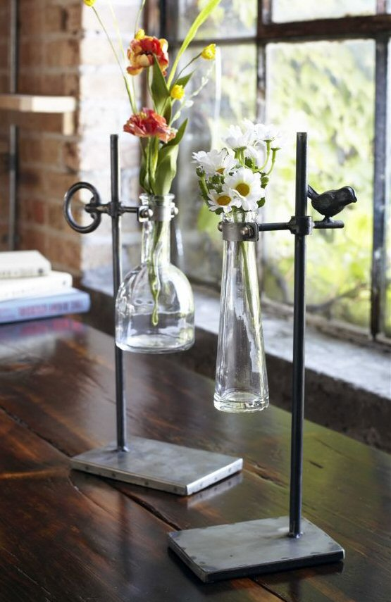 Glass Stem Vases With Bird Key Design Metal Stands Set Of 2 Melrose