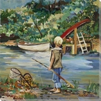 Going Fishing Wrapped Canvas Giclee Print Wall Art