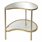Gold Athena Kidney Shaped Wood Accent Table