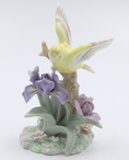 Gold Finch Bird with Iris Flowers Sculpture