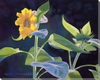 Gold Flower with Green Leaves Wrapped Canvas Giclee Print Wall Art