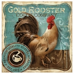 Gold Rooster Bird Absorbent Coasters by Conrad Knutsen, Set of 8