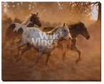 Gold Run Horses Wrapped Canvas Giclee Print Wall Art