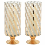 Gold Striped Pillar Candle Holder, Set of 2