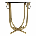 Gold with Silver Ring Iron Table with Beveled Glass Top