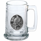 Golden Eagle Bird Glass Beer Mug with Pewter Accent