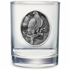 Golden Eagle Bird Pewter Accent Double Old Fashion Glasses, Set of 2
