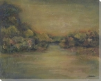 Golden Landscape Wrapped Canvas Giclee Print Wall Art