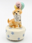 Golden Retriever Dog Porcelain Musical Music Box Sculpture