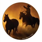 Golden Sunset Cowboy Sandstone Coasters by Patricia Leigh, Set of 8