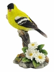 Goldfinch Perching on a Branch with Flowers Bird Sculpture