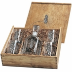 Golf Bag Capitol Decanter & DOF Glasses Box Set with Pewter Accents