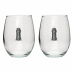 Golf Bag Pewter Accent Stemless Wine Glass Goblets, Set of 2