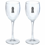Golf Bag Pewter Accent Wine Glass Goblets, Set of 2