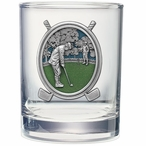 Golfer Green Pewter Accent Double Old Fashion Glasses, Set of 2