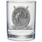 Golfer Pewter Accent Double Old Fashion Glasses, Set of 2