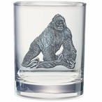 Gorilla Pewter Accent Double Old Fashion Glasses, Set of 2
