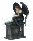 Gothic Weeping Angel Sitting on Grave with Hands on Knee Sculpture