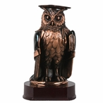 Graduation Owl Statue - Dark Copper Finish