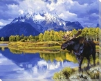Grand Morning Moose by the Lake Wrapped Canvas Giclee Print