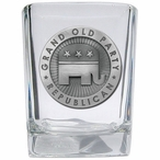 Grand Old Party Republican Pewter Accent Shot Glasses, Set of 4