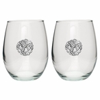 Grape Cluster Pewter Accent Stemless Wine Glass Goblets, Set of 2