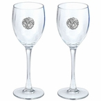 Grape Cluster Pewter Accent Wine Glass Goblets, Set of 2