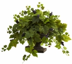Grape Leaf Silk Plant with Iron Colored Urn