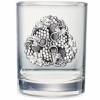 Grapes Pewter Accent Double Old Fashion Glasses, Set of 2