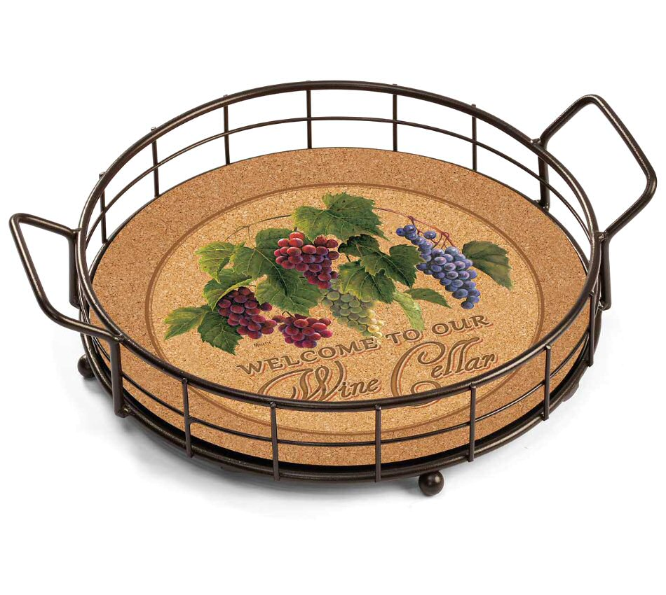 Grapevine Welcome To Our Wine Cellar Metal And Wood Trays, Set Of 2