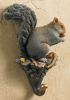 Gray Squirrel Hand Painted Sculpted Single Wall Hooks, Set of 3