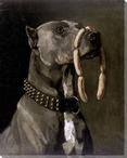 Great Dane Dog with Sausages Wrapped Canvas Giclee Print Wall Art