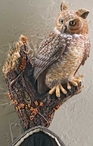 Great Horned Owl Bird Hand Painted Single Wall Hooks, Set of 3