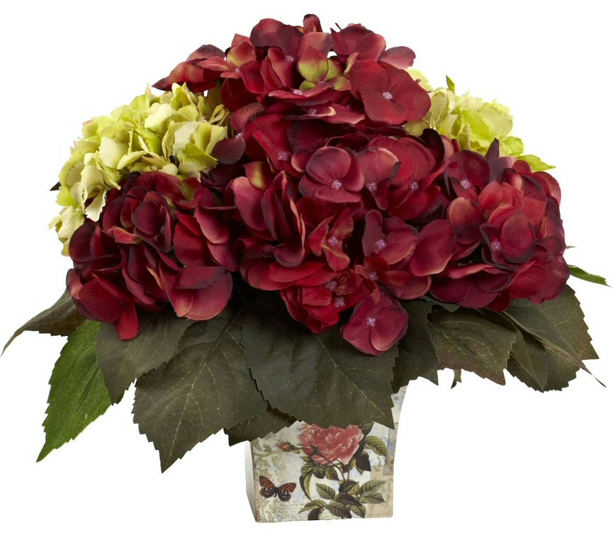 Green and burgundy hydrangea silk flower arrangement